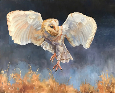 """Night Flight"" (oil on wood panel) by Samantha Fried"