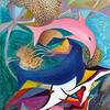 """Dance for the bottle-nose dolphin"" (acrylic on canvas) by Natalia Proskuriakova"