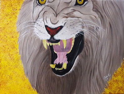 """Roar of a King"" (oil on canvas) by Adriana Calichio"