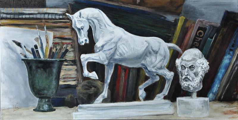 """A shelf in a studio"" (acrylic) by Lota Slobodian"