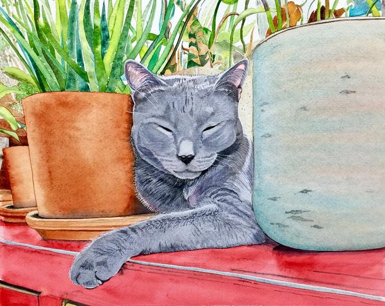 """""""Louie's Urban Jungle"""" (watercolor) by Sonja Jones"""