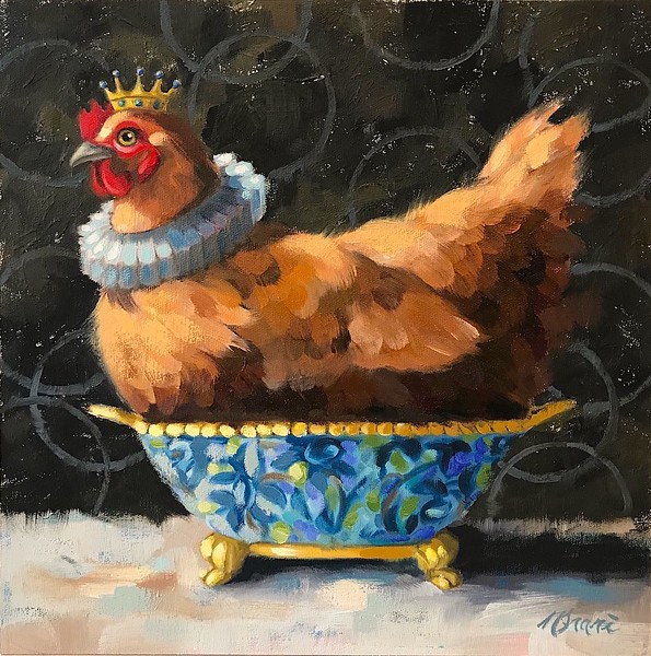 """""""Regal In Blue"""" (oil on linen panel) by Ninalee Irani"""