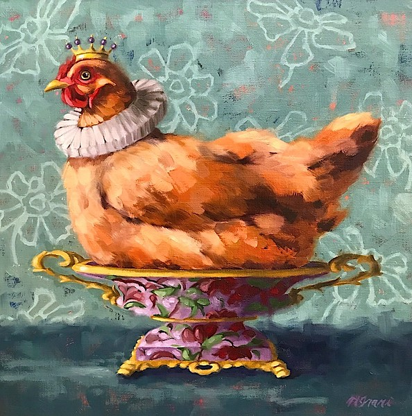 """""""Imperial Hen"""" (oil on linen panel) by Ninalee Irani"""