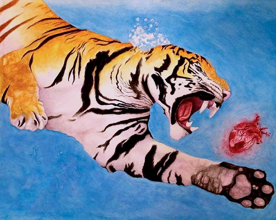 """""""Tiger Stole My Heart"""" (watercolor) by Sara Edge"""