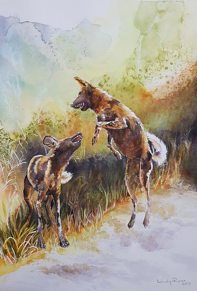 """""""High Jinks"""" (watercolor) by Lindy Roux"""
