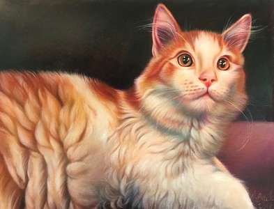 """Pumpkin, the Cat - Cute as Pie"" (colored pencil) by Nathalie Beck"
