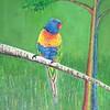 """Two Rainbows--Lorikeet and Eucalyptus Tree"" (acrylic on canvas) by Raymond Raza"