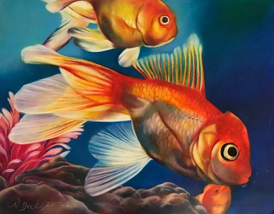 """""""Something Really Fishy"""" (colored pencil and Caran D'ache Neocolor II on drafting film) by Nathalie Beck"""