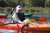 Trumpeter Swan (Cygnus buccinator) Banding: Cara Kamke with Cygnet in Kayak