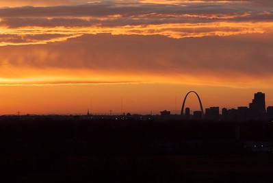 Sunset over downtown St. Louis from Monk's Mound, Cahokia Mounds, Illinois