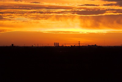 Sunset over downtown St. Louis from Monk's Mound, Cahokia Mounds, Illinois.