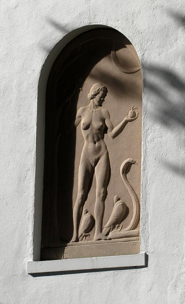 the back of the house had two architectural friezes imbedded in the stucco - this was one of them