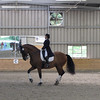 Shawna Harding on Come On III, practicing in warmup ring prior to her scheduled test