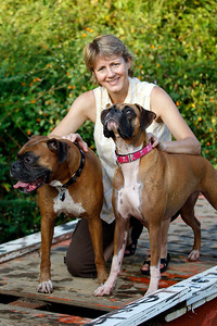 9-24-2010, Photo by CandaceWest.com  BOONE AND JOONE, Boxers.  Sheila Mitchell with her dogs Boone and Joone.