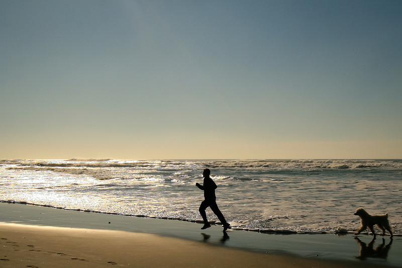 Jogger and Poodle, Ocean Beach, San Francisco CA