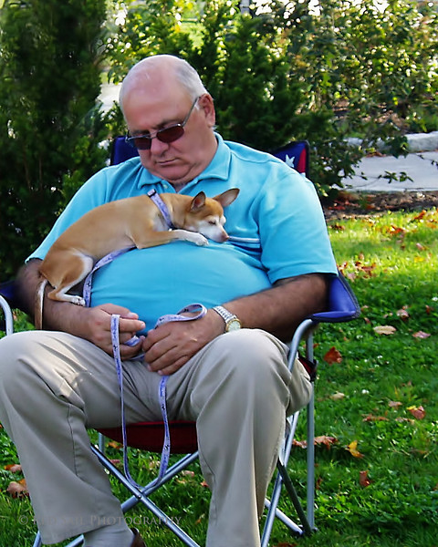 Ah, yes. Finally a chance for a man and his best friend to relax and catch a few zzz's. Image taken in the square overlooking the water in Bar Harbor, Maine. Photo credits to Bonnie and Bill.