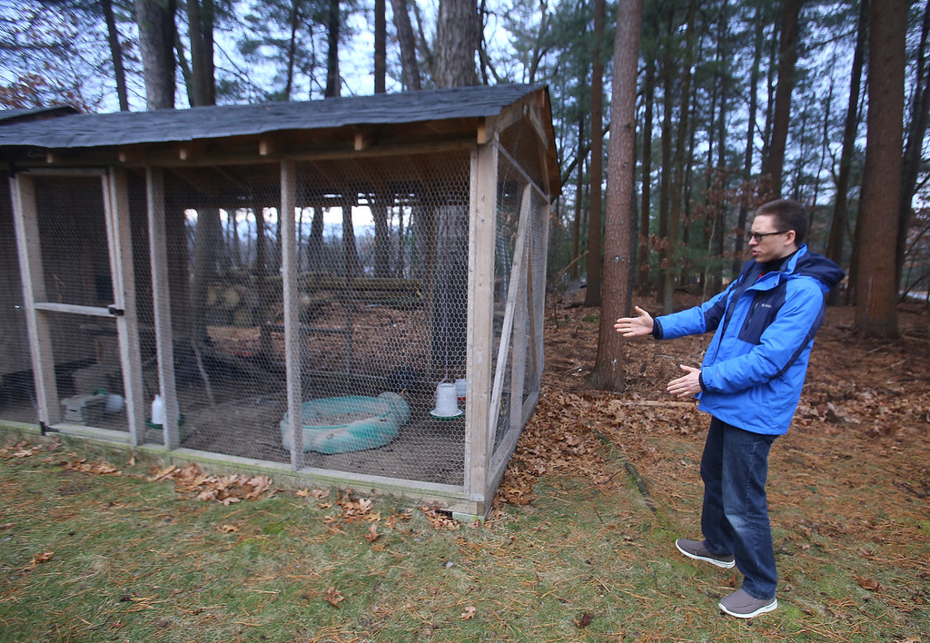 . Alexander Melville of Chelmsford with his family\'s chicken coop. Besides fresh eggs, he said a benefit has been that the wild turkey that used to frequent the yard now stay away. Under new town regulations, they face costs including $1,500-2,000 for a plot plan. (SUN/Julia Malakie)