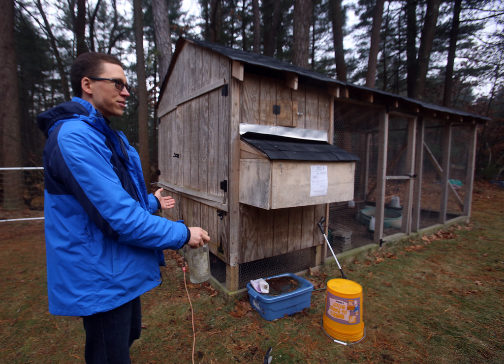 . Alexander Melville of Chelmsford with his family\'s chicken coop. TUnder new town regulations, they face costs including $1,500-2,000 for a plot plan. (SUN/Julia Malakie)