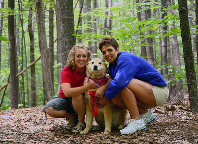 with his mommy (my wife Christine) and friend Steph. Bailey love the woods.