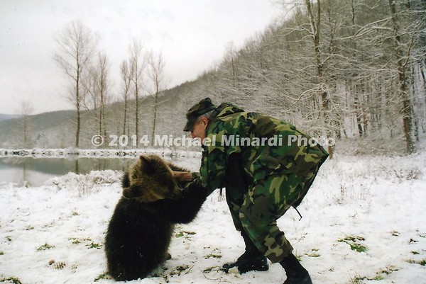 SSG MINARDI with bear named Bubble in Kosovo