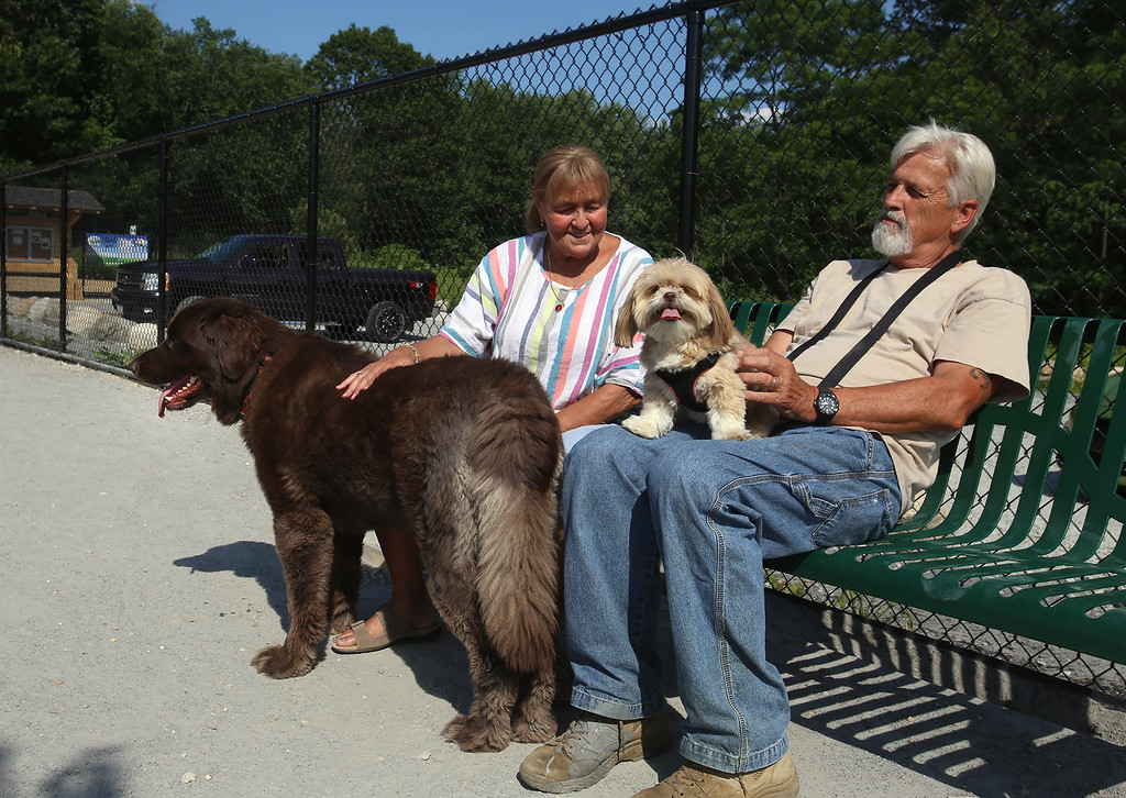 . Donna and husband Rick Price of Billerica hang out with their 3-year-old Newfoundland, Bruno, and 5-year-old Lhasa apso, Chloie, at the recently-opened Billerica Dog Park. They say Chloie is the alpha dog, who tells Bruno when he can eat, and when they should go out. (SUN/Julia Malakie)