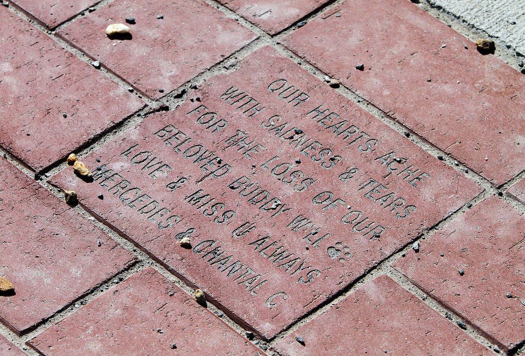 . Billerica Dog Park. One of many messages for deceased dogs inscribed on the bricks. (SUN/Julia Malakie)