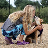 Saturday morning at the Billerica Dog Park. Lauren Kennedy, 11, of Billerica, gets a kiss from Stella, a beagle-Chihuahua mix belonging to Will Daugherty of Billerica. (SUN/Julia Malakie)