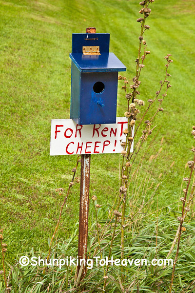 "Birdhouse ""For Rent Cheep!"", Jackson County, Wisconsin"