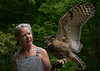Rebecca Lessard with Eion, great horned owl, Wings of Wonder, Empire, MI