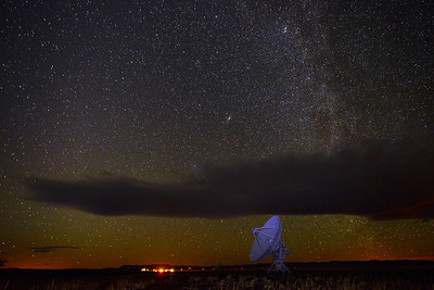 Outtake of a timelapse video at the Very Large Array (VLA)  The galaxy Andromeda can be seen in the middle of the frame.