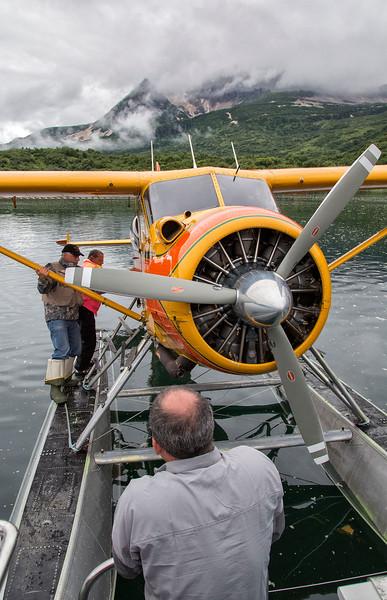 Unloading float plane at Single Star