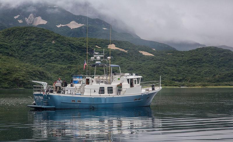 Single Star anchored in Geographic Harbor, Kadmai National Park, Alaska