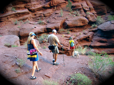 Alice, Ed, Annette & Buddy hiking in Moab, UT