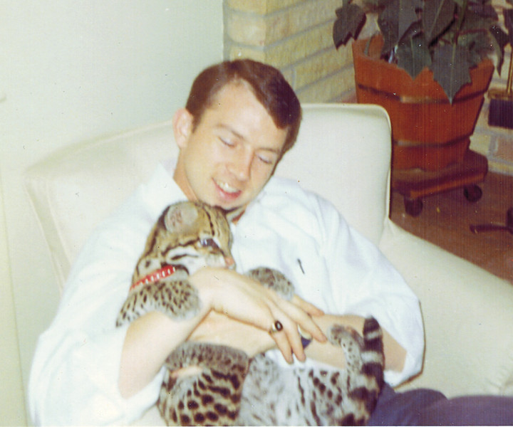 I don't remember which of my damnfool college friends was keeping an ocelot as a house pet in central Ohio in the mid-sixties.<br /> <br /> And even a young and callow fellow such as I knew it was not an ideal arrangement for the ocelot, nor for the person living with such very territorial animals.<br /> <br /> But if you like having a cat on your lap, …<br /> <br /> Fun Fact: At this same time, Gram Parsons (Other>Necropolis, photo 2) was keeping an ocelot in his parents' home in Winter Haven, Florida -- a much more hospitable climate for the animal -- and letting it use the pool.<br /> <br /> ProTip: Poor image quality due to this being a scan of an Instamatic print.