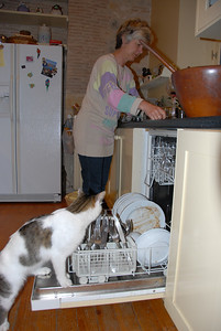 Witje and Mom doing the dishes