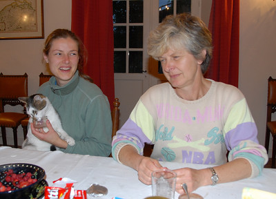 Mom, Charlotte and Witje at dinner
