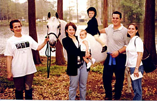 after chuck (and chance's) first leadline class in the spring of 1998. (left to right) veni, my sister gretel holding isabella, chuck on board chance, my brother jeff and his wife terrie.