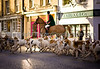 Chipping Norton (Oxfordshire UK) Boxing Day fox hunt meet.  The Heythrop Hunt meets every Boxing Day in Chipping Norton where the crowds gather to watch the horses, riders and hounds.