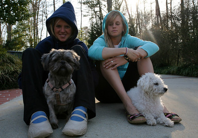 Logan and Jamie and dogs in driveway