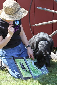 Winter, the Market Goddess, and her Sage checking out Sage's puppy photos in my portfolio!  ;-)