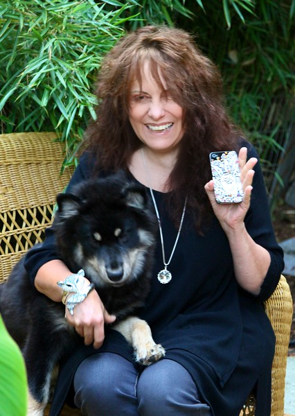 Some serious canine bling!  We tried to include Onni in this shot but it took all I had to hold him still so everything else ended up blurry but the dog. My iphone prototype I'm testing for durability in Faux Ivory and my Swarovski crystal fox bracelet arrived today!