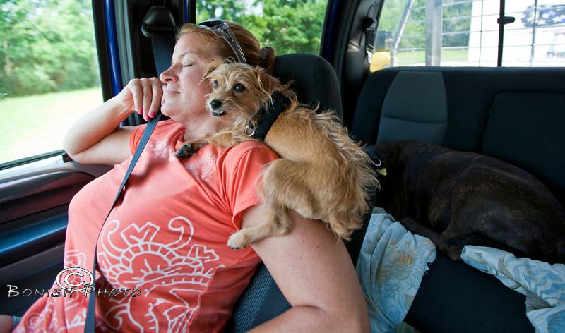 Barely Hanging on while riding on Cindy's Shoulder - Little in one of her many sleeping positions - Photo by Pat Bonish
