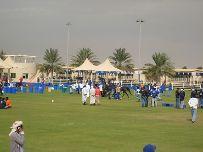 The Dubai Endurance Village with some very dark clouds in the distance.