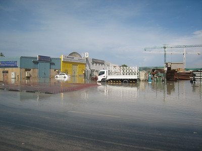 Meanwhile back in Dubai, the rain had fallen in buckets and there was flooding in Al Quoz.