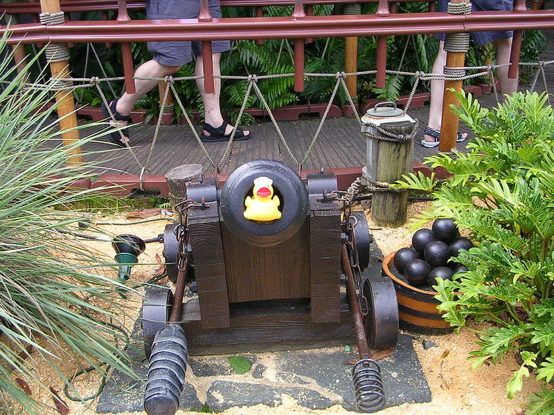 Here's duck outside the Swiss Family Robinson Treehouse in The Magic Kingdom.  He's posing in the cannon.