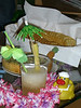 Duck getting his drink on with homemade Mai Tai's  He also has some crackers and spinich dip to help him with the alcohol.  He slept very well that night.