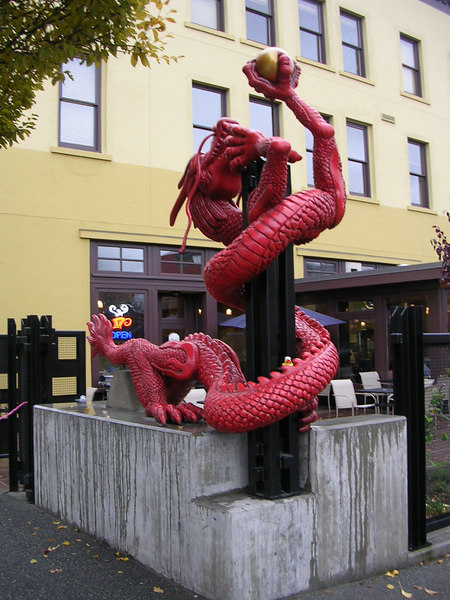 Here is duck posing with a dragon in Chinatown.  He is a little concerned about it's claws.  It looks pretty fierce.