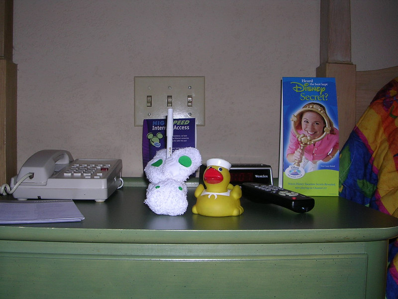 Duck met a strange bunny creature in our room at the Carribean Beach Resort.  He is attempting to make friends, but the bunny doesn't say much.