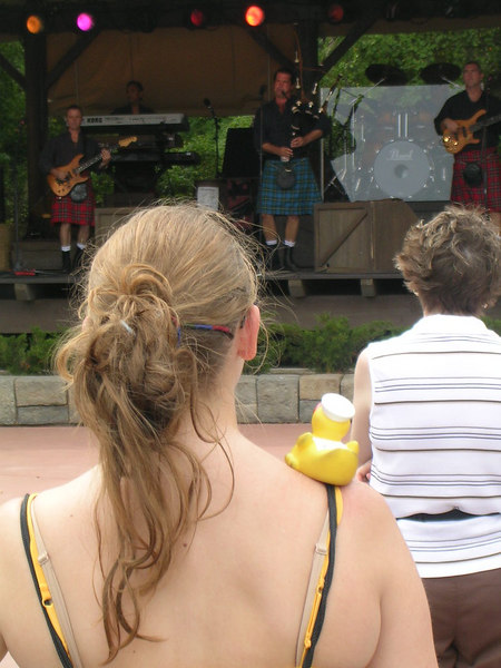 Duck and I rocking out to Off Kilter, the band who plays in the grandstand in the Canada pavilion.