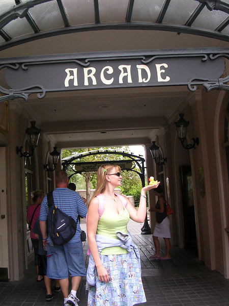 Duck and his friend Heather under the Arcade sign in France.  He likes Heather a lot since he knows she was in the crash with me.